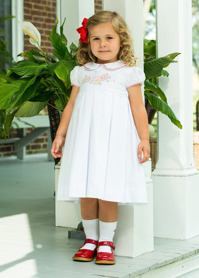 Charlotte Poinsettia Dress, Little English traditional children's clothing, girl's classic embroidered white dress