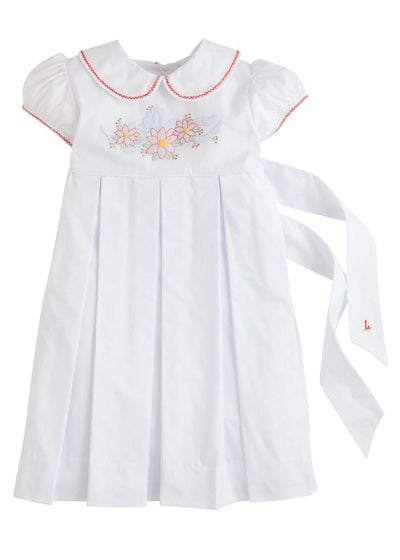 Little English classic girl's embroidered poinsettia dress, traditional children's clothing