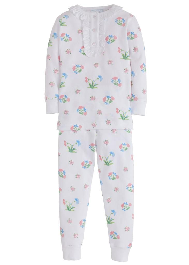 Little English girls white Pima cotton floral jammies
