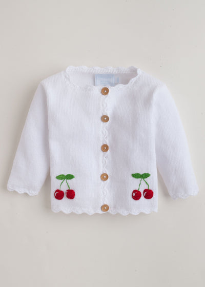 Cherry Crochet Sweater, Little English, classic children's clothing, preppy children's clothing, traditional children's clothing, classic baby clothing, traditional baby clothing
