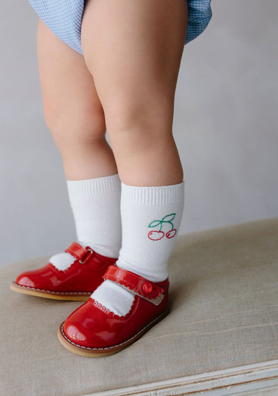 Knee Highs - Cherry, Little English, classic children's clothing, preppy children's clothing, traditional children's clothing, classic baby clothing, traditional baby clothing