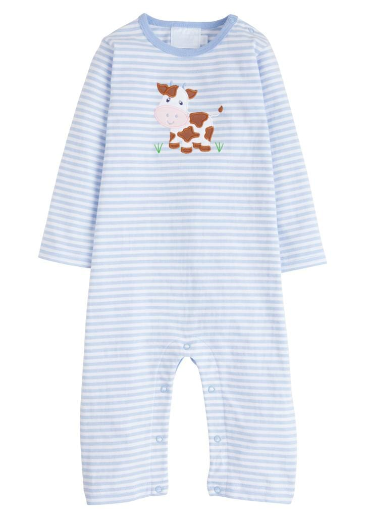 Little English classic applique romper, light blue cow, traditional children's clothing