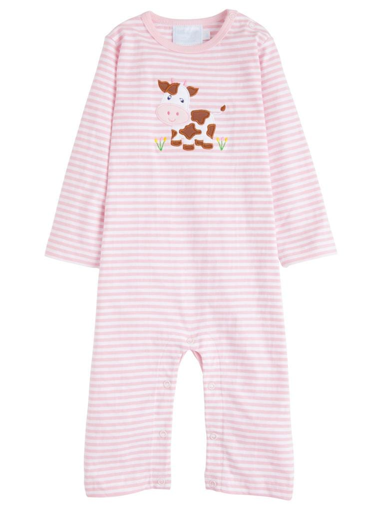 Little English classic applique romper, light pink cow, traditional children's clothing