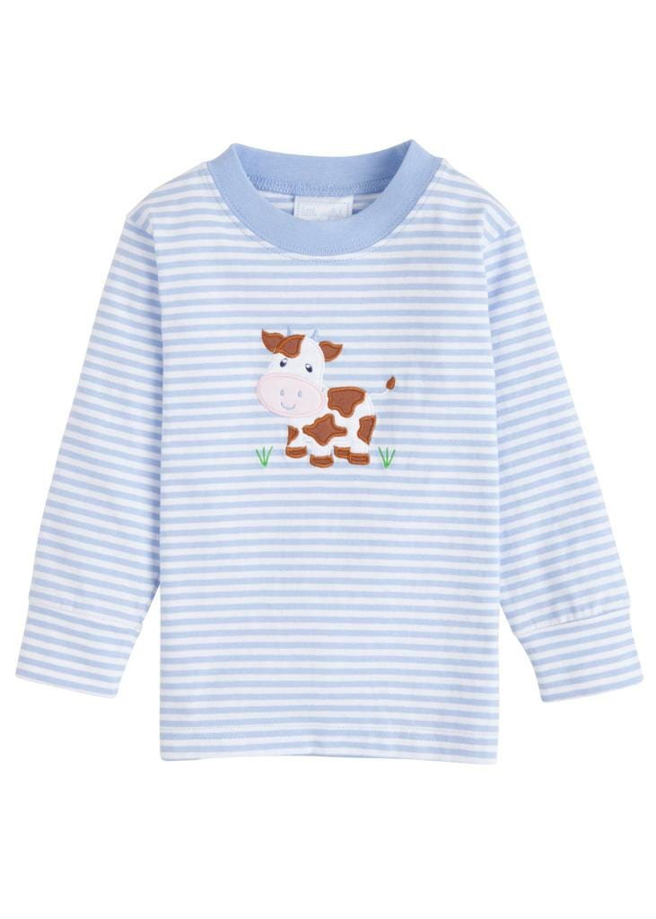 Little English classic applique t-shirt, light blue cow, traditional children's clothing