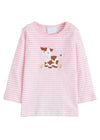 Little English classic applique t-shirt, light pink cow, traditional children's clothing