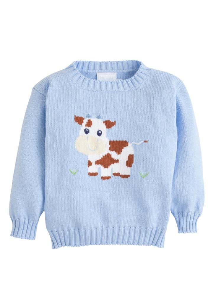 Little English classic intarsia sweater, light blue cow, traditional children's clothing