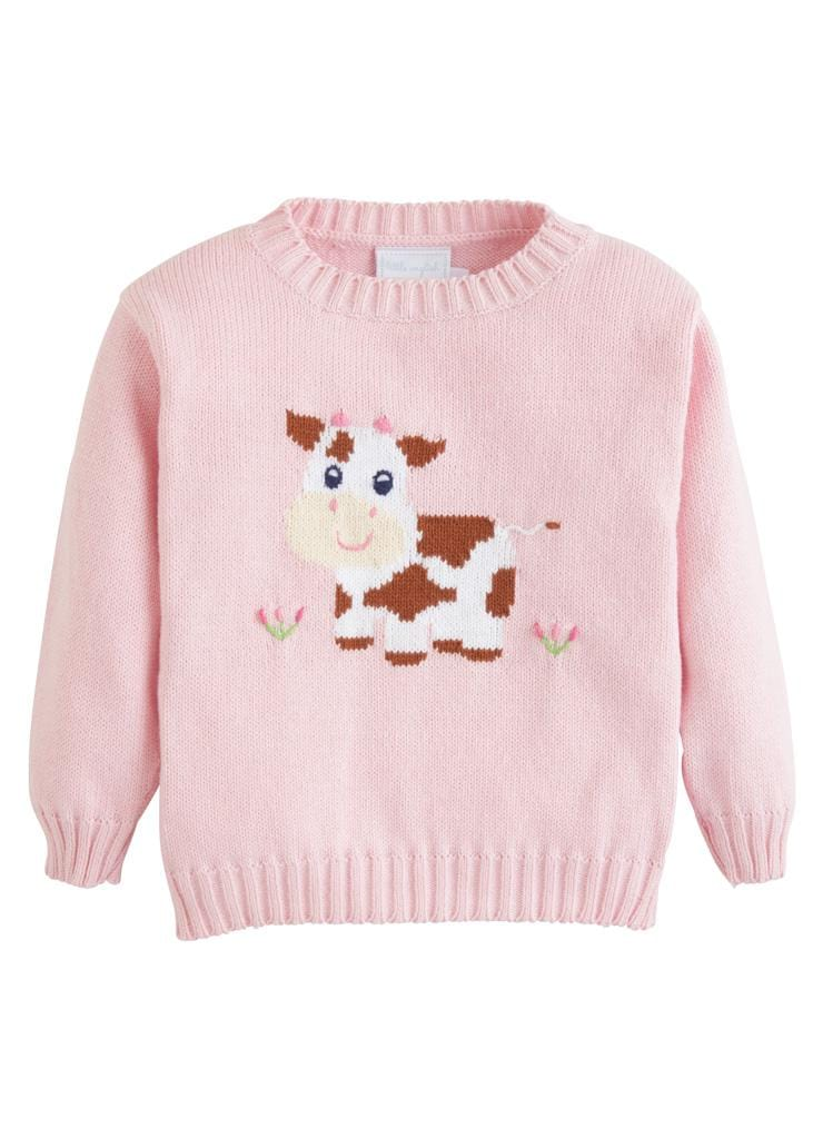 Little English classic girl's intarsia sweater, light pink cow, traditional children's clothing