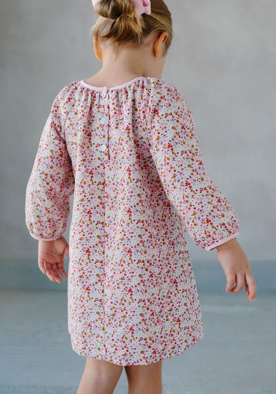 Daphne Dress, Little English Traditional Children's Clothing, girl's classic pink floral dress