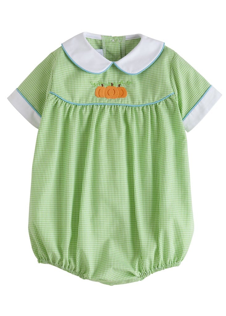 Little English classic baby boy's green gingham pumpkin bubble, traditional children's clothing