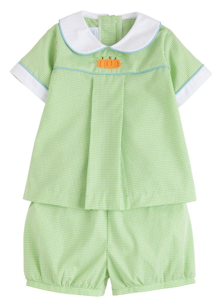 Little English classic boy's lime green gingham pumpkin short set, traditional children's clothing
