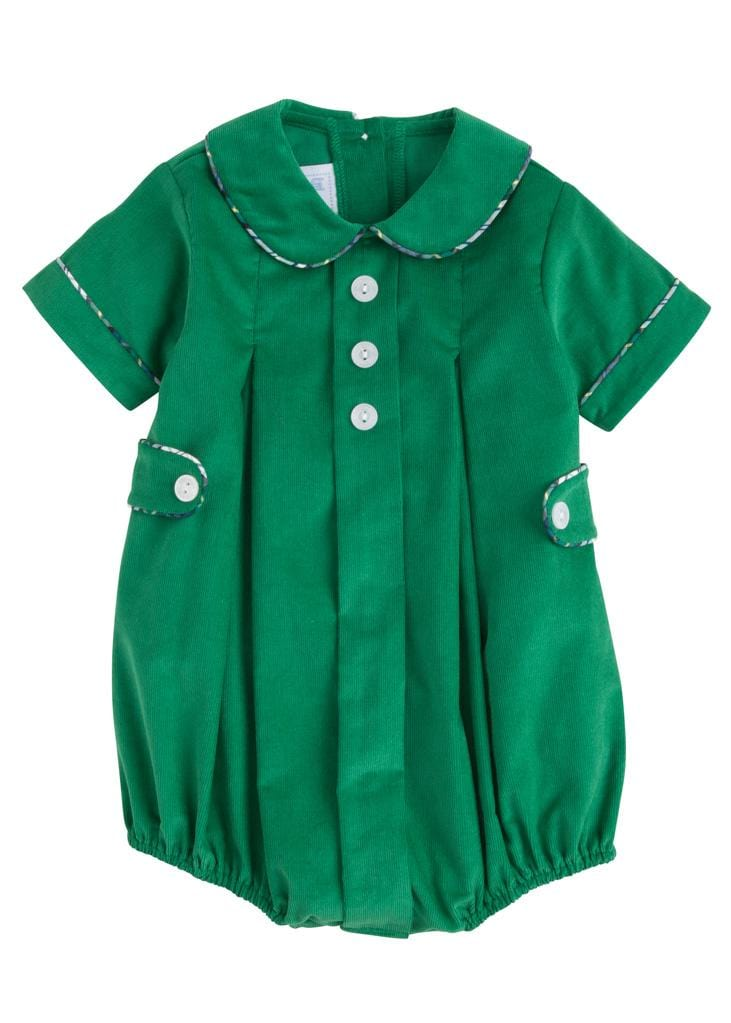 Little English classic boy's green corduroy bubble, traditional children's clothing