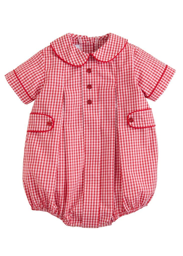 Little English classic boy's red gingham Davant bubble, traditional children's clothing
