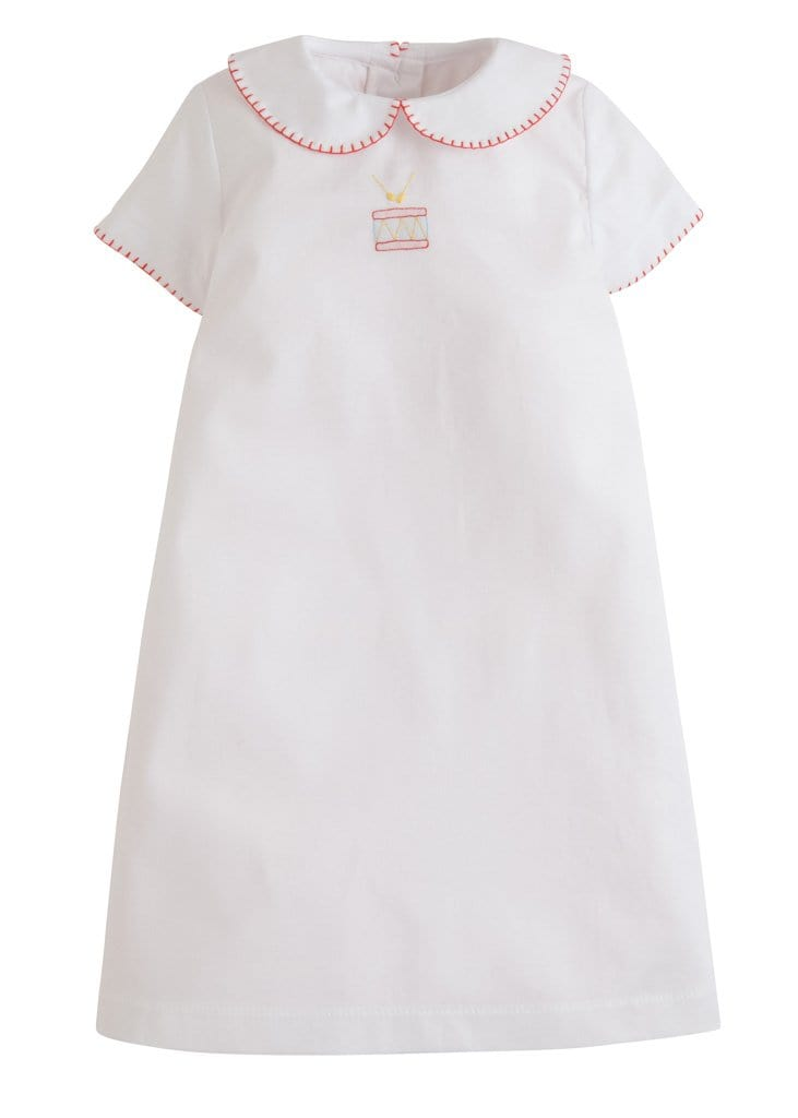Little English classic newborn embroidered day gown with drum, traditional children and baby clothing
