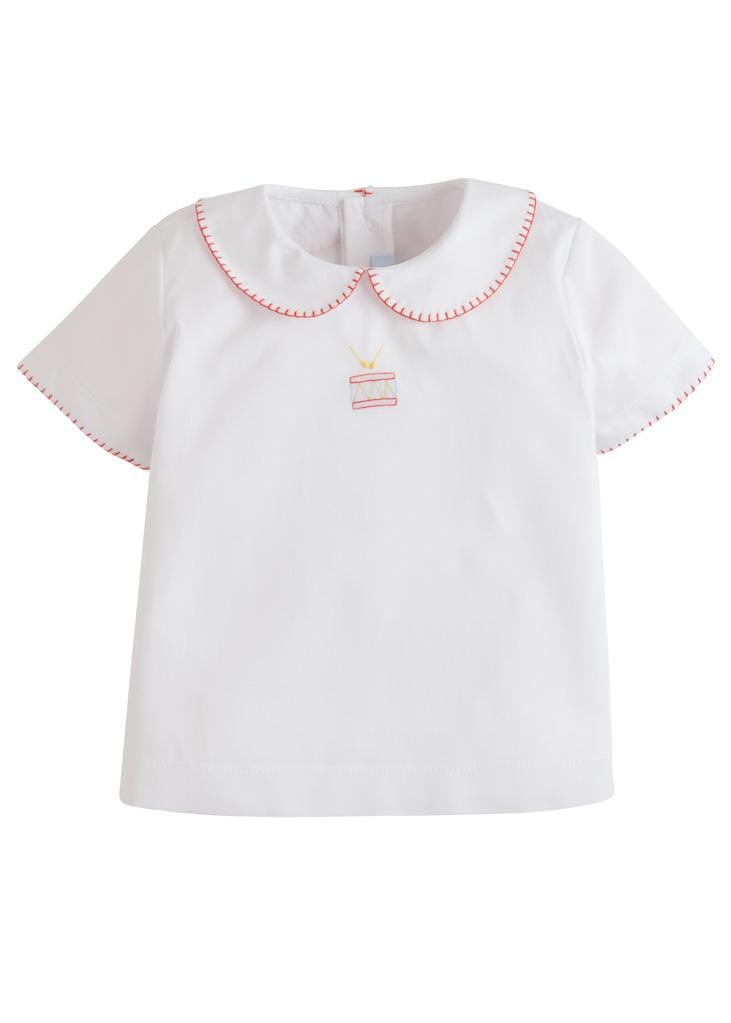 Little English classic boy's shadow embroidered drum shirt, traditional children and baby clothing