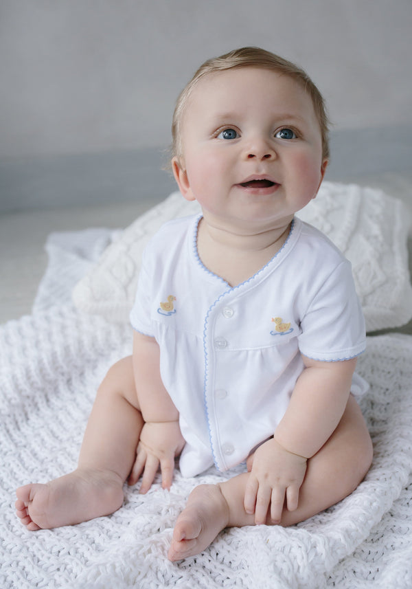 Pinpoint Layette Knit Set-Duck, Little English, classic children's clothing, preppy children's clothing, traditional children's clothing, classic baby clothing, traditional baby clothing