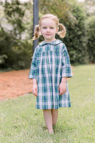 Little English classic girl's Kentucky tartan plaid dress, traditional children's clothing