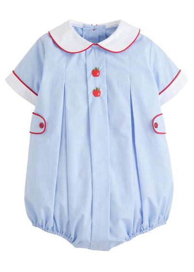 Little English classic boys light blue back to school apples bubble