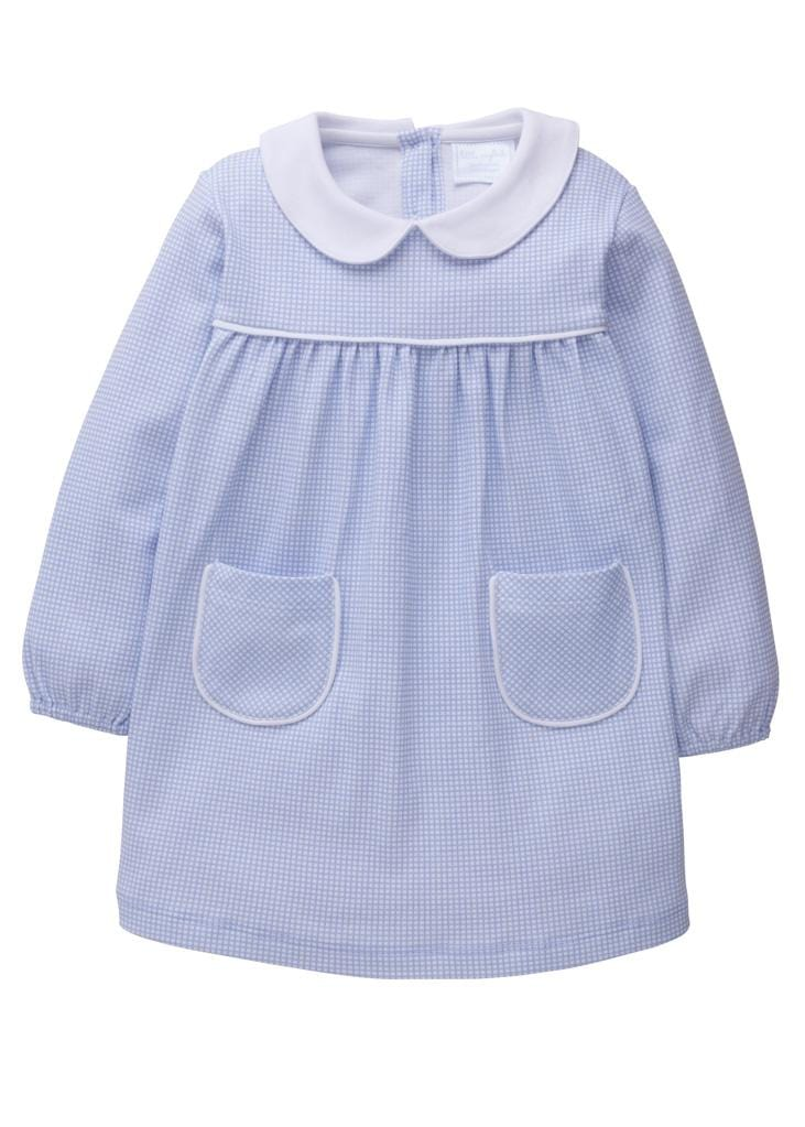 Light Blue Evelyn Dress, Little English Traditional Children's Clothing, girl's classic knit dress