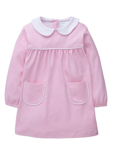 Light Pink Evelyn Dress, Little English Traditional Children's Clothing, girl's classic knit dress