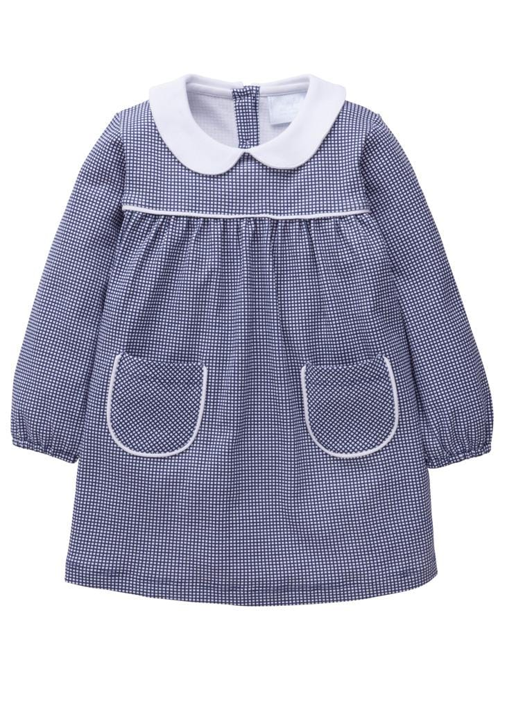 Little English classic navy knit dress for girl, traditional children's clothing