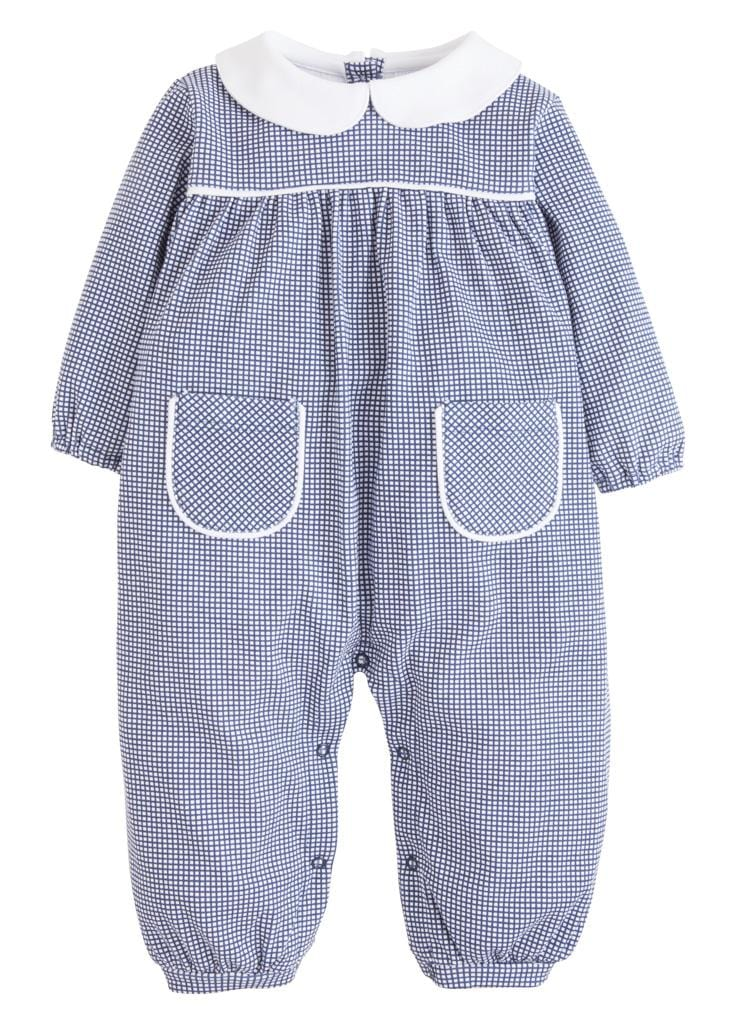 Navy Window Pane Romper, Little English Traditional Children's Clothing, classic knit romper