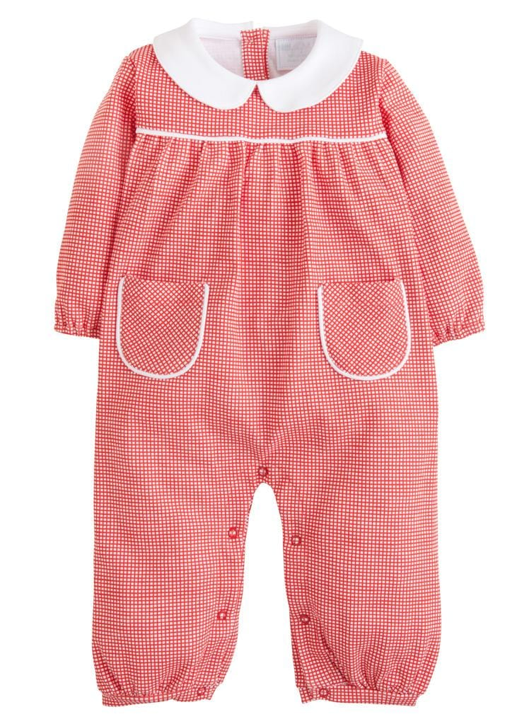 Red Window Pane Romper, Little English Traditional Children's Clothing, classic knit romper