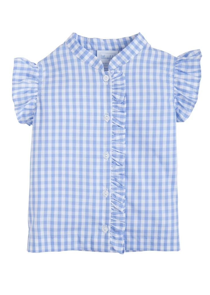 Flutter Blouse - Cornflower Gingham, Little English, classic children's clothing, preppy children's clothing, traditional children's clothing, classic baby clothing, traditional baby clothing
