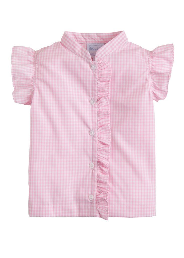 Flutter Blouse - Pink Plaid, Little English, classic children's clothing, preppy children's clothing, traditional children's clothing, classic baby clothing, traditional baby clothing