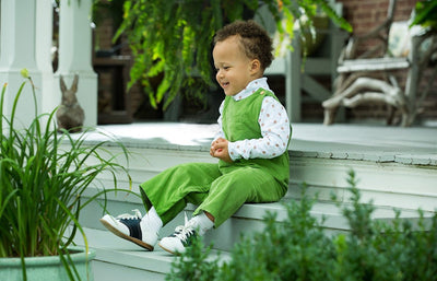Sage Green Campbell Overall, Little English tradtional children's clothing, boy's classic corduroy overall