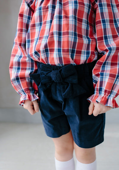 Corduroy Bow Shorts - Navy, Little English, classic children's clothing, preppy children's clothing, traditional children's clothing, classic baby clothing, traditional baby clothing