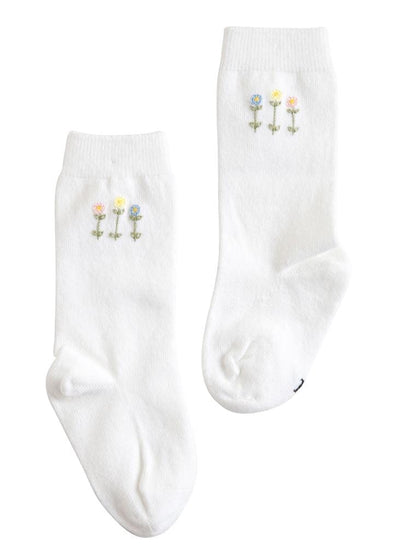 Little English classic white knee kighs with garden party embroidery, traditional children's clothing