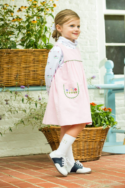 Garden Party Madison Jumper and Printed Turtleneck, Little English traditional children's clothing, light pink corduroy jumper dress