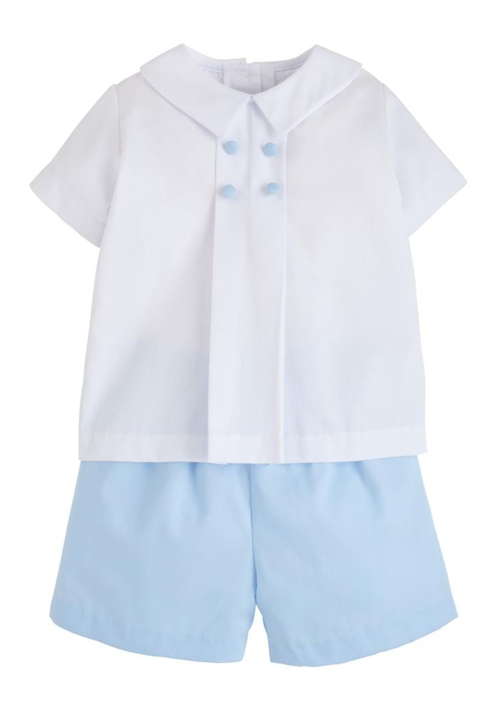 Gatsby Short Set - White/Blue, Little English, classic children's clothing, preppy children's clothing, traditional children's clothing, classic baby clothing, traditional baby clothing