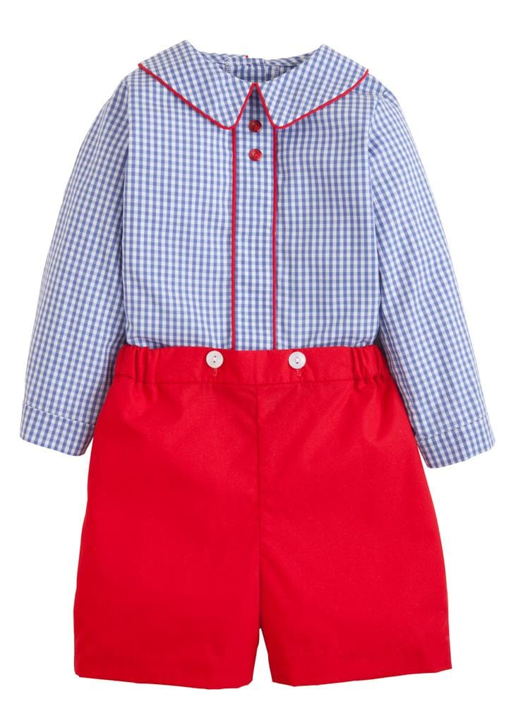 Little English classic boy's gingham short set, traditional children's clothing
