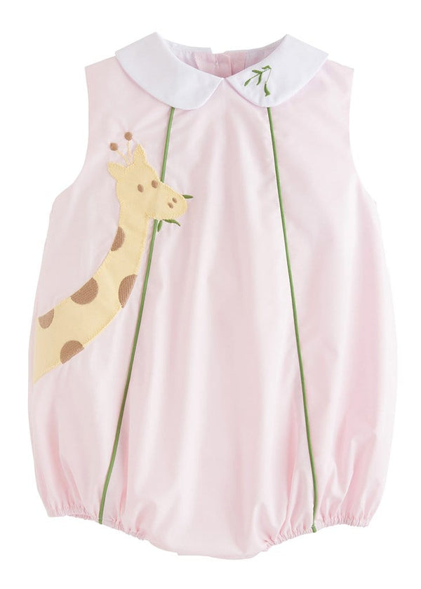 little english classic baby girl pink bubble with giraffe applique