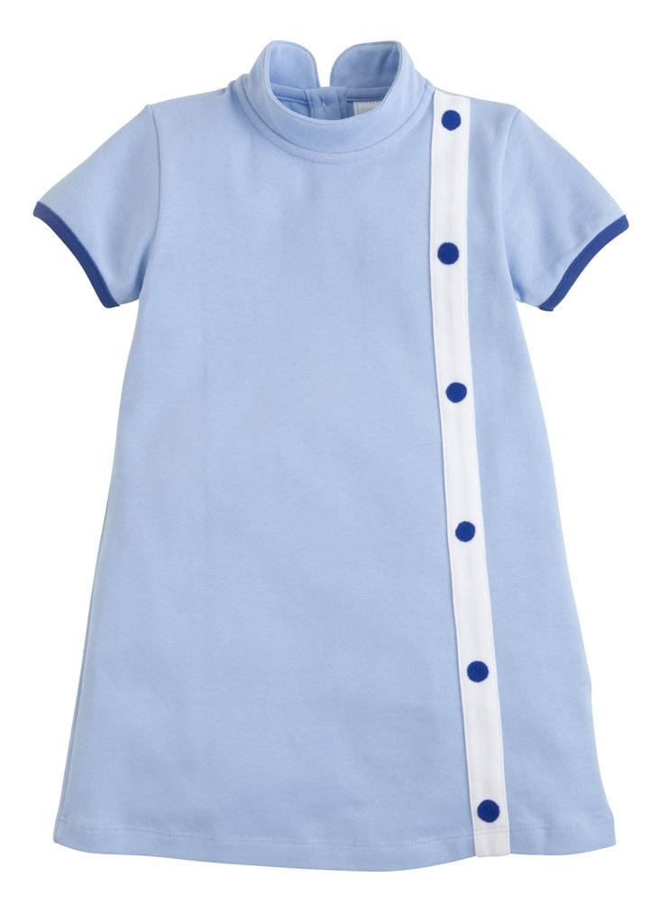 Little English classic girl's light blue knit dress, tradtional children's clothing