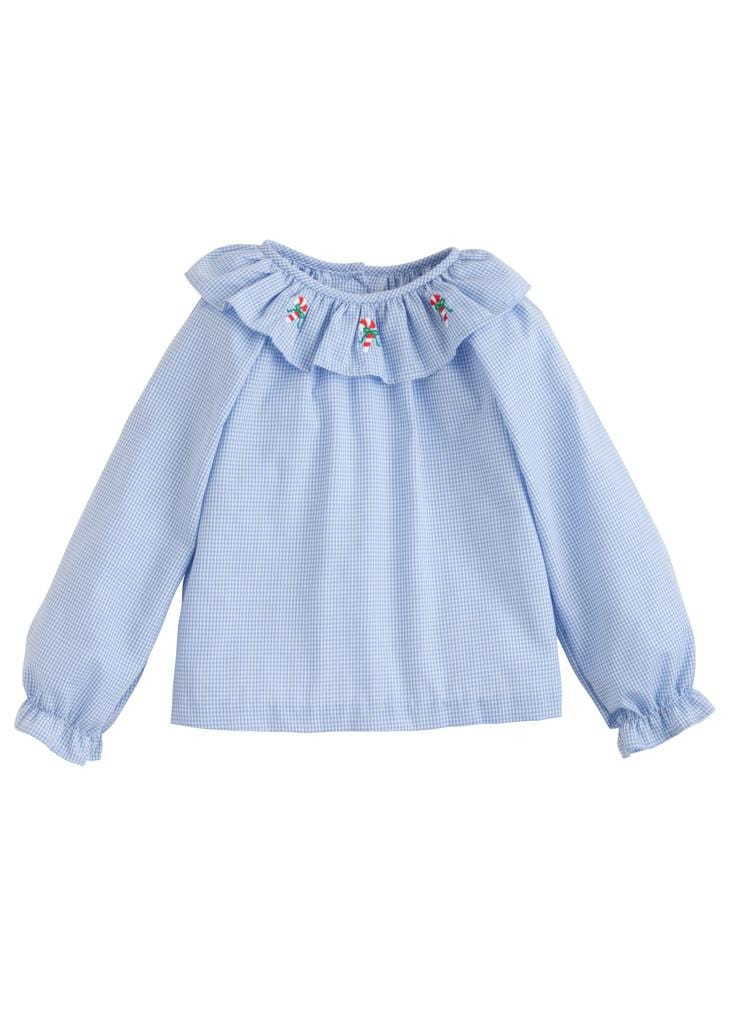 Little English classic girl's blue gingham candy cane embroidered blouse, traditional children's clothing
