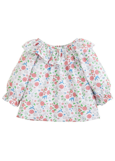 Woodsy Floral Bespoke Blouse, Little English Traditional Children's Clothing, girl's classic floral blouse