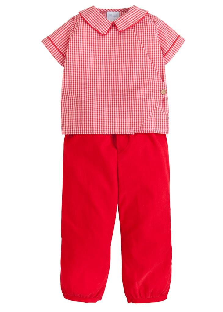 Hampton Pant Set, Little English Traditional Children's Clothing, boy's classic red gingham corduroy pant set