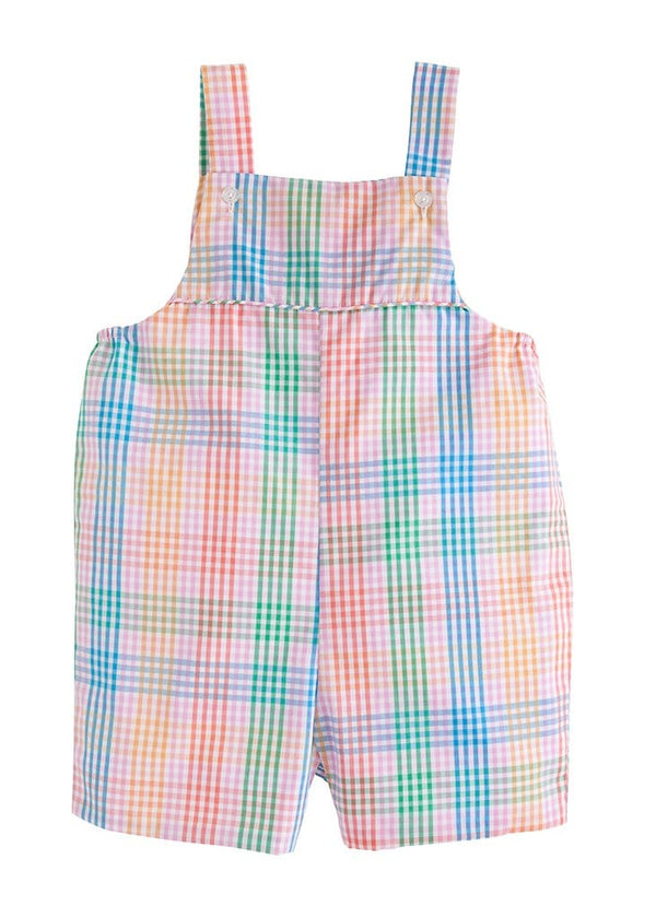 little english boys pink preppy plaid shortall overalls
