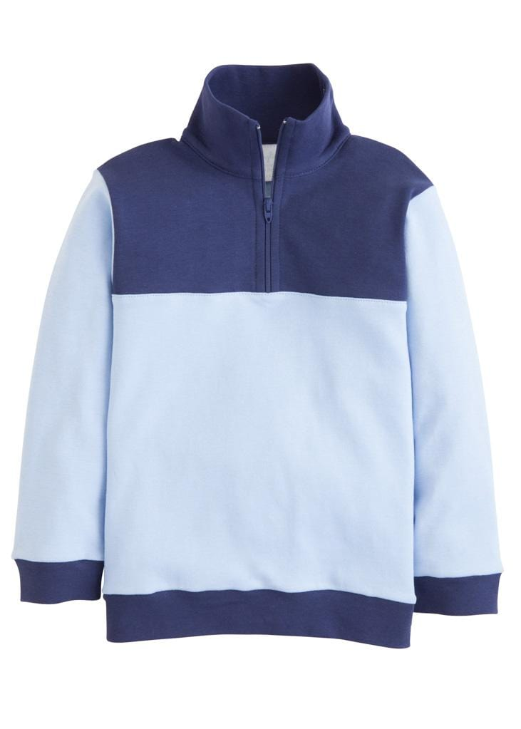 Little English classic boy's half-zip sweater, light blue and navy, traditional children's clothing