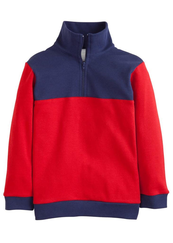 Little English classic boy's red and navy half-zip sweater, traditional children's clothing