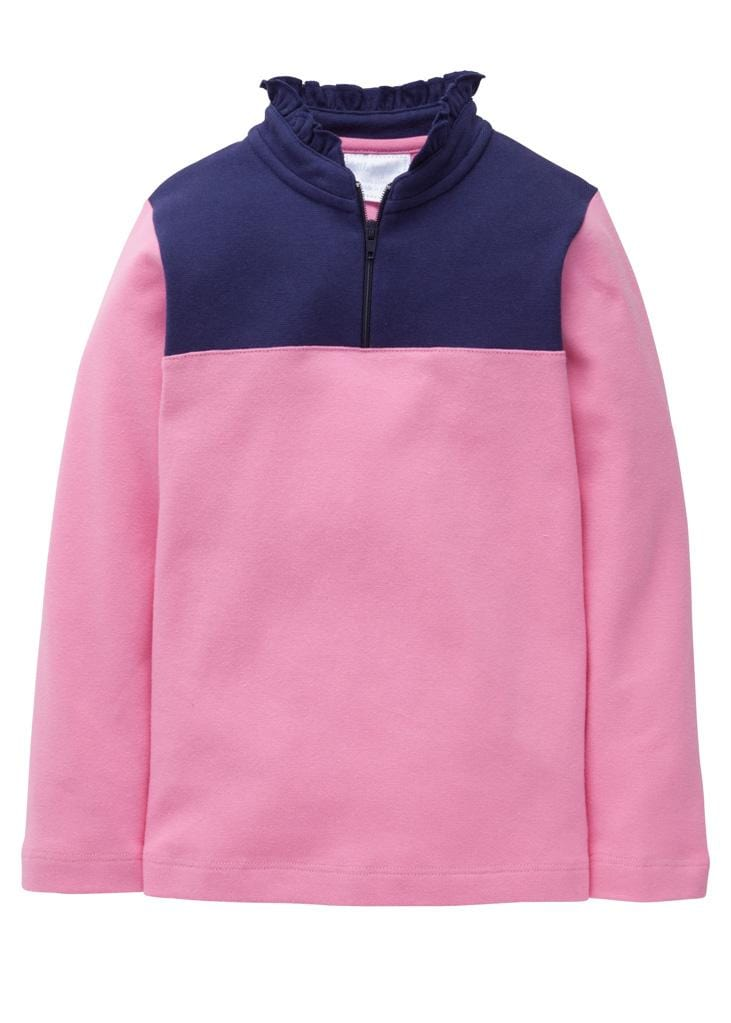 Little English classic girl's hot pink and navy half-zip sweater, traditional children's clothing