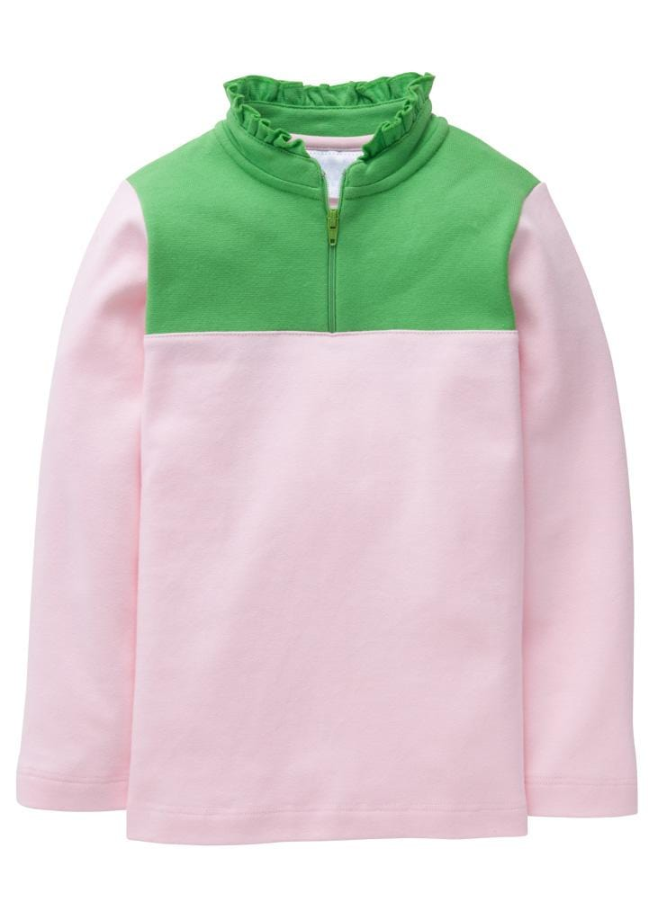Little English classic girl's light pink and green half-zip sweater, traditional children's clothing