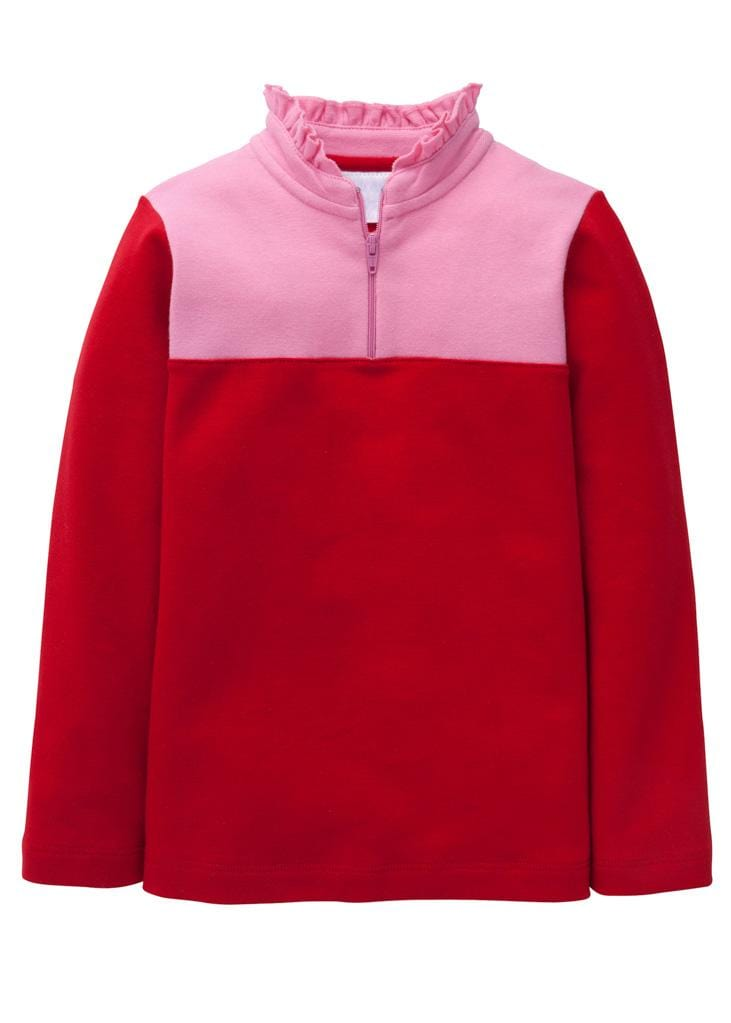 Little English classic girl's red and light pink half-zip sweater, traditional children's clothing