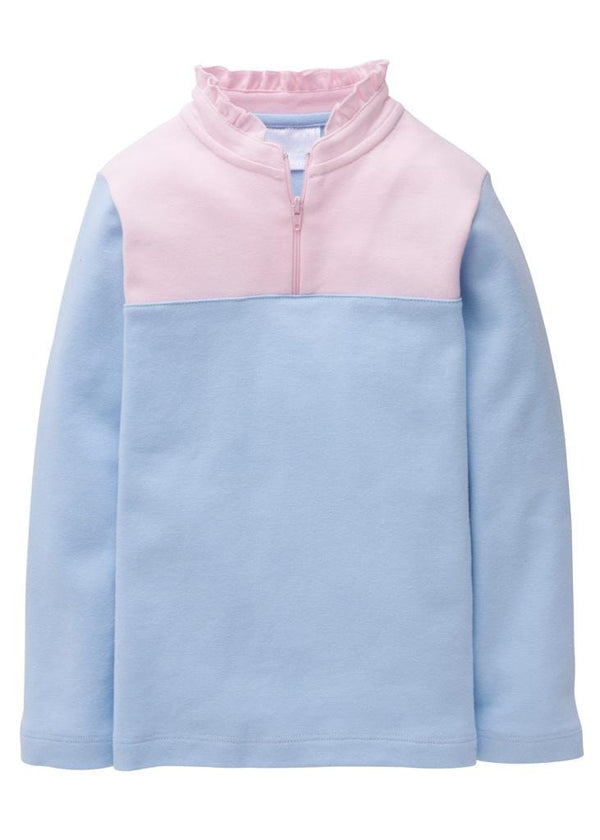 Little English classic girl's sky and light pink half-zip sweater, traditional children's clohing