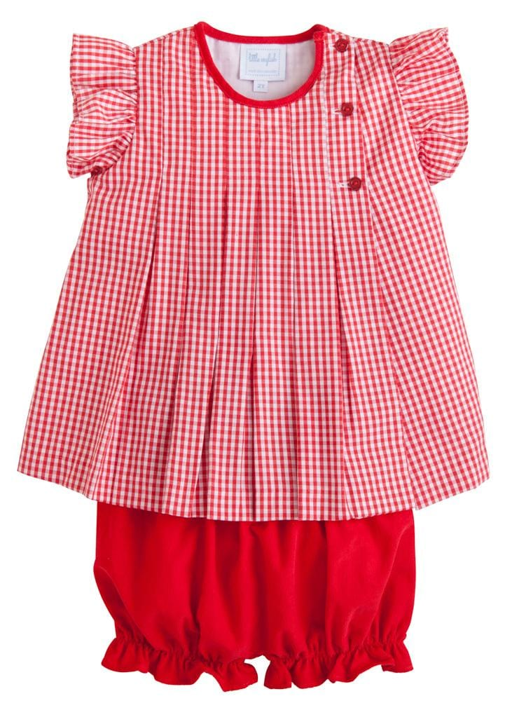 Highlands Bloomer Set, Little English Traditional Children's Clothing, girl's classic red bloomer set