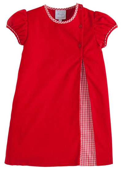 Little English classic girl's red corduroy dress, traditional children's clothing