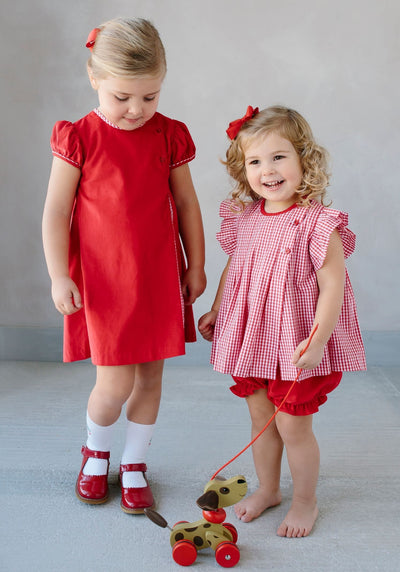 Little English traditional children's clothing, girl's red corduroy Highlands Dress, traditional girl's clothing