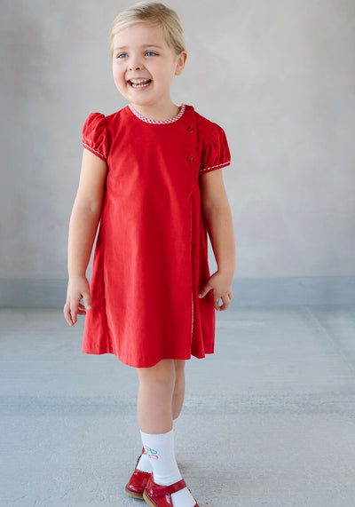 Little English classic children's clothing, girl's red corduroy Highlands Dress, traditional children's clothing